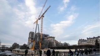 Work continues to stabilise the cathedral's structure nine months after a fire caused significant damage, in Paris, France, December 18, 2019