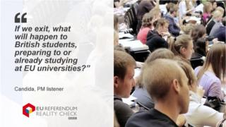"""Candida asks: """"If we exit, what will happen to British students, preparing to or already studying at EU universities?"""""""