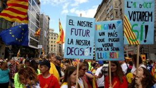 People demonstrate for independence on the Diada, Catalonia's national day, the Diada, on 11 September 2017