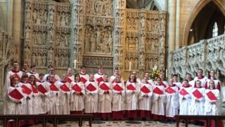Girl choristers at Truro Cathedral
