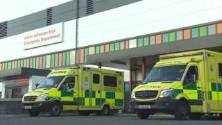 Ambulances at Glan Clwyd Hospital