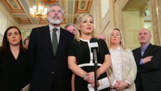 Gerry Adams, Michelle O'Neill and Sinn Féin colleagues