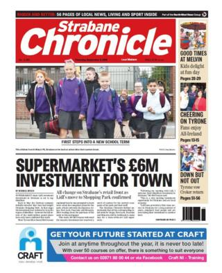 front page of the Strabane Chronicle Thursday 6 September 2018