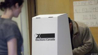 A Canadian votes