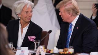 IMF's managing director Christine Lagarde and US President Donald Trump