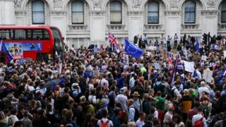 Anti-Brexit demonstrators filled Whitehall, near Downing Street