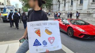 Image taken by a BBC reporter from a Save Our Children rally in London