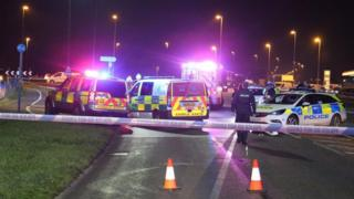 Police at the scene on the A259