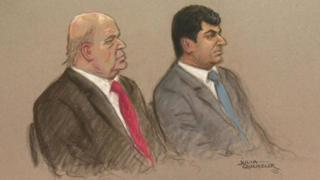 Court sketch of Mazher Mahmood and Alan Smith