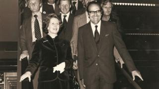 Margaret Thatcher with Jim Matthews on the John Lewis escalator on 25 September 1979