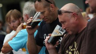 Men at beer festival