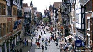 people on Chester city centre