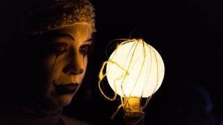 A participant with illuminated circle