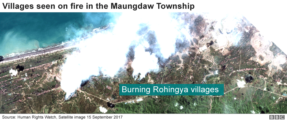 Satellite images shows Rohingya villages on fire along Myanmar coast
