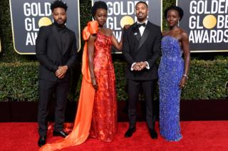 Black Panther director Ryan Coogler with actors Danai Gurira, Michael B Jordan, and Lupita Nyong'o