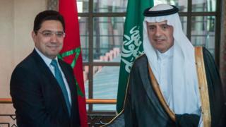 وزير الدولة للشؤون الخارجية السعودي، عادل الجبير، في لقاء سابق مع وزير الخارجية المغربي، ناصر بوريطة (صورة أرشيفية)