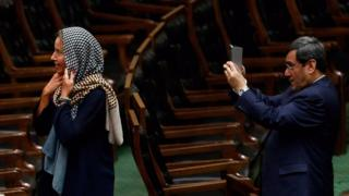 The EU's top diplomat Federica Mogherini at the Iranian parliament, 5 August 2017