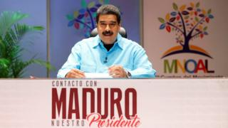 Nicolas Maduro on the set of his TV show