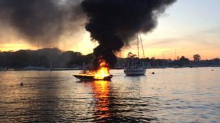 Boat fire at Warsash