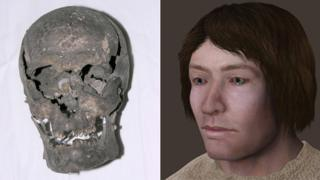 Skull of Leasowe man and reconstructed image