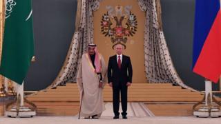 Suudi Arabistan Kralı Selman ve Rusya Devlet Başkanı Putin