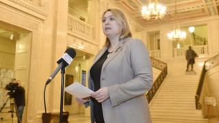 Karen Bradley, pictured at a press conference in Stormont