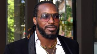 Chris Gayle outside a court hearing in Sydney in 2017