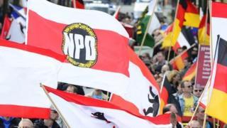 移民反対デモに参加するNPD
