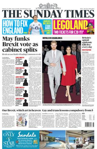 Sunday Times front page - 23/02/19