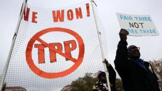 米国で行われたTPPに反対するデモ