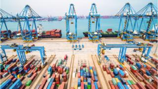 An aerial view of a port in Qingdao in China's eastern Shandong province on March 8, 2019