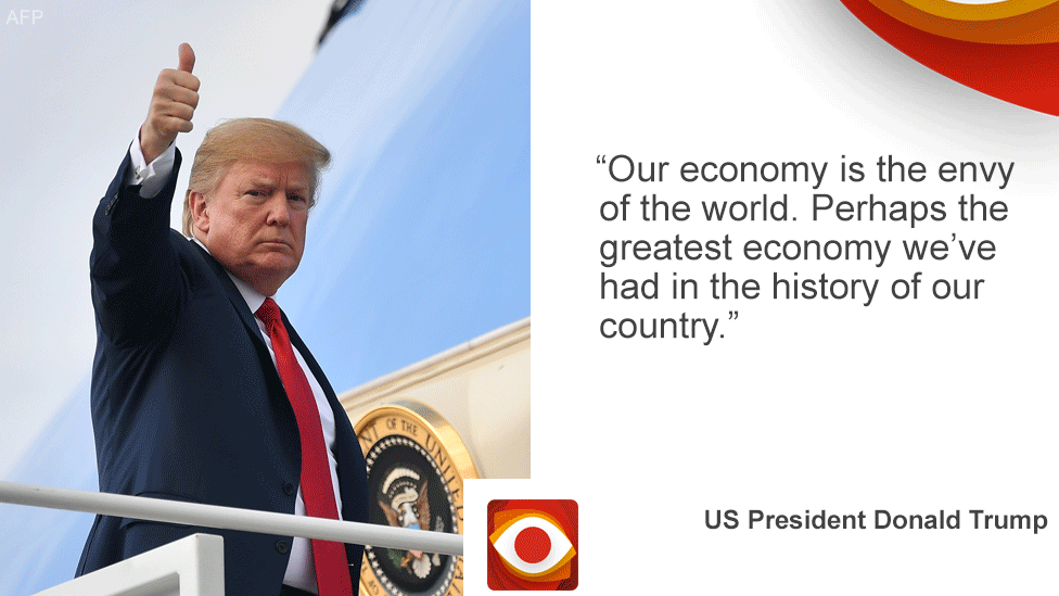 """Card with President Trump on the left and the quote """"Our economy is the envy of the world. Perhaps the greatest economy in the history of our country."""""""
