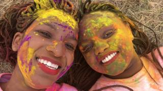 Women after the colour run