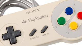 A video game controller that looks nearly identical to well-known 1990s Super Nintendo - but that says Sony Playstation on it
