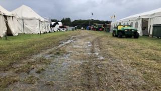 Waterlogged show field at Royal Manx Show