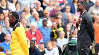 Usain Bolt and Justin Gatlin on the podium at London 2017 World Athletics Championships