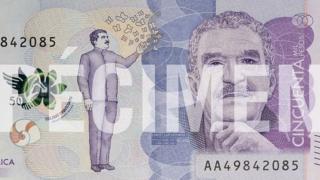 Изображение писателя Габриэля Гарсиа Маркеса на банкноте