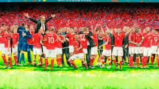 Owain Fon Williams' painting of Wales celebrating their Euro 2016 quarter-final win over Belgium