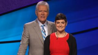 Cindy Stowell, right, appears on the Jeopardy! set with Alex Trebek in Culver City, California. (31 August 2016)