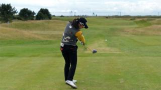 Mi Hyang Lee of Korea playing the final day of the Aberdeen Asset Management Ladies Scottish Open at Dundonald Links