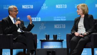 Counsellor to President Barack Obama John Podesta (left) and former Secretary of State Hillary Clinton speak at the National Clean Energy Summit 7.0 at the Mandalay Bay Convention Center on 4 September 2014 in Las Vegas, Nevada