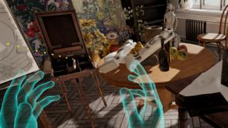 Image of floating blue hands about to place items on a table