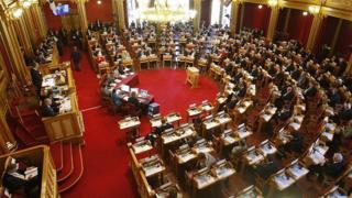 Зал заседаний парламента Норвегии