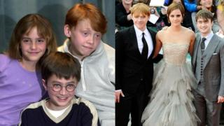 Stars of the Harry Potter films in 2000 and 2011.