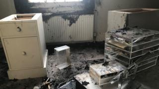 Bedroom after fire