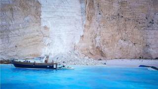 Navagio beach, or Shipwreck Beach, following a rockfall on the island of Zakynthos, Greece, 13 September 2018