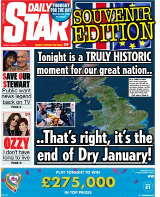 Friday's Daily Star front page