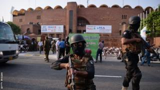 Police in Pakistan before a World XI practice session