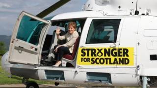 Nicola Sturgeon in helicopter.