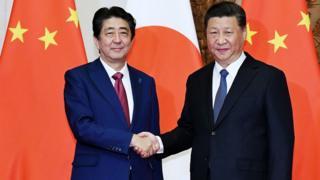 习近平在北京钓鱼台会见到访的日本首相安倍晋三